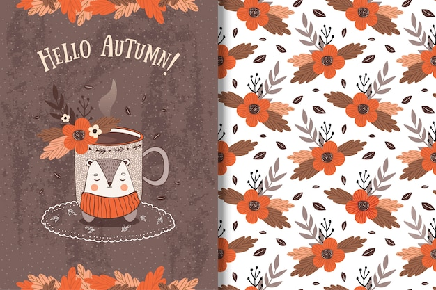 Cup with autumn leavescard and seamless pattern Premium Vector