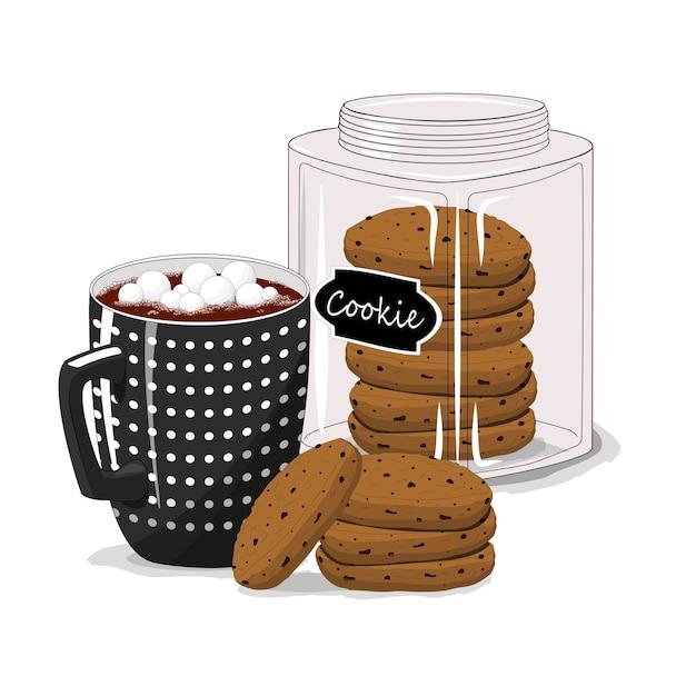 Чашка с кофе и печеньем на изолированной белой предпосылке. завтрак. доброе утро. Premium векторы