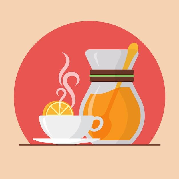 Чашка с иллюстрацией чай с лимоном Premium векторы