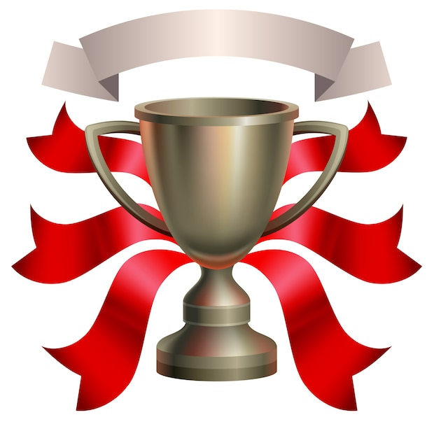 Cup with red ribbon. Premium Vector