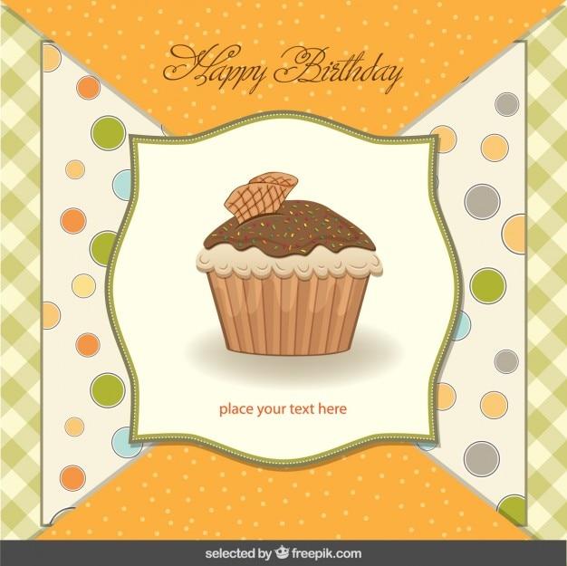 Cupcake birthday card in scrapbook style Vector – Cupcake Birthday Card
