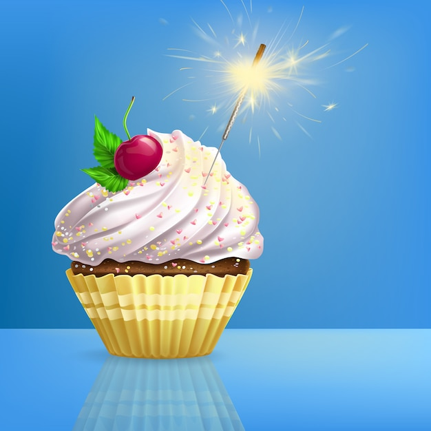Cupcake decorated fired sparkler realistic Free Vector