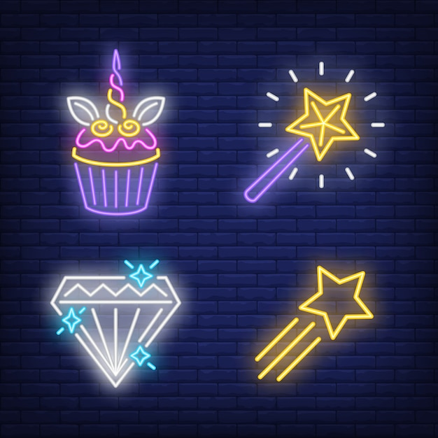 Cupcake, flying star, diamond and magic wand neon signs set Free Vector