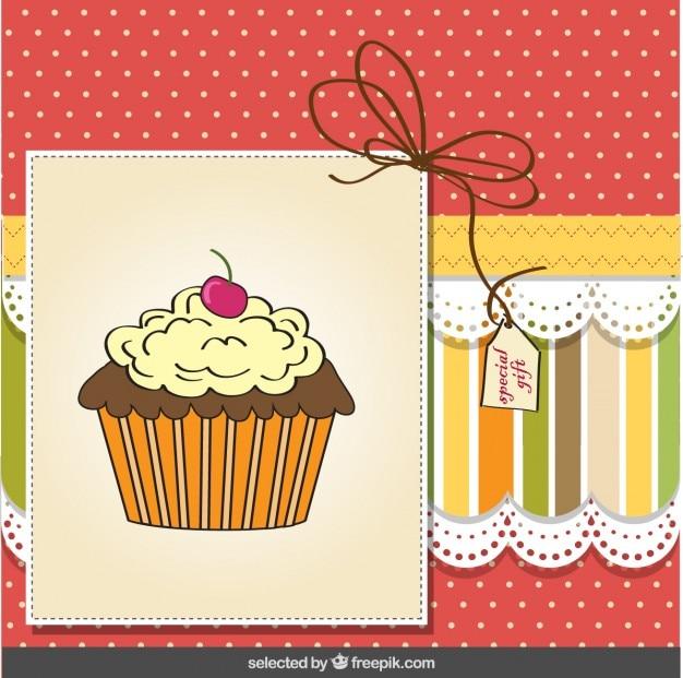 Cupcake greeting card Free Vector