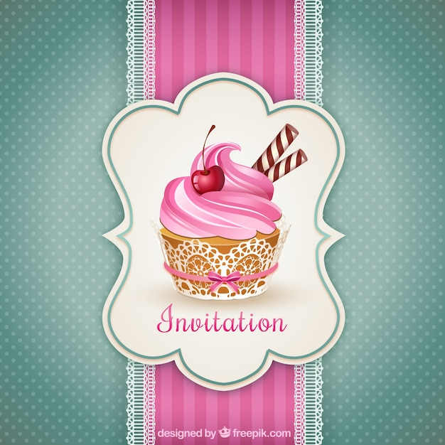 Cupcake invitation Premium Vector