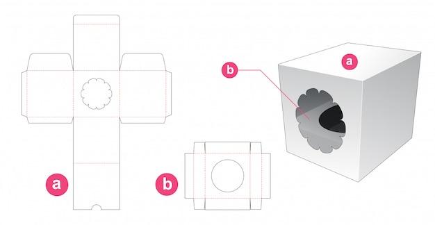 Cupcake packaging with window die cut template Premium Vector