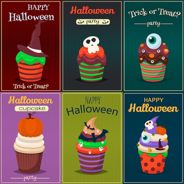 Cupcake set. happy halloween scary sweets poster. Premium Vector
