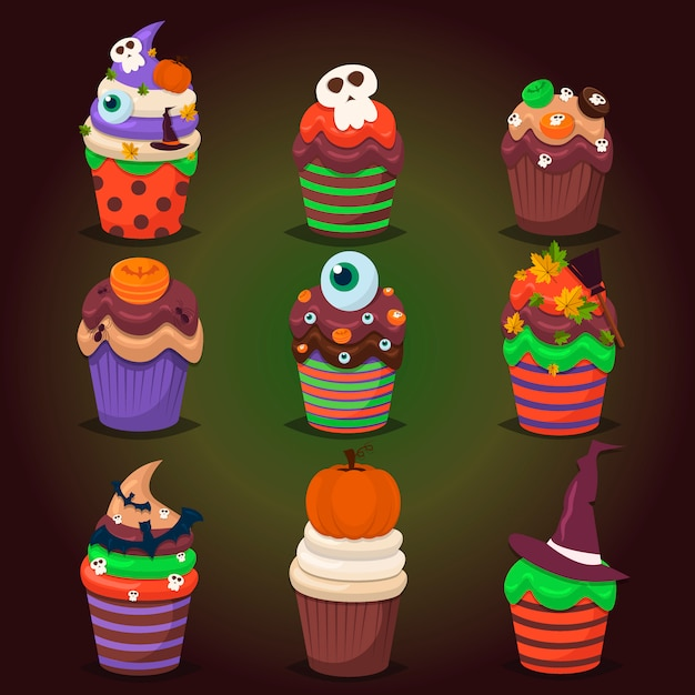 Cupcake set. happy halloween scary sweets. Premium Vector