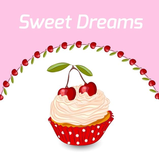 ホイップクリームとチェリーのカップケーキ。お誕生日。甘い夢のコンセプトです。 Premiumベクター