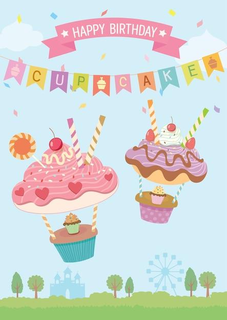 Cupcakes balloons birthday card Premium Vector
