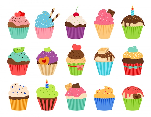 Cupcakes flat icons. delicious birthday cupcake and wedding muffin vector collection isolated Premium Vector