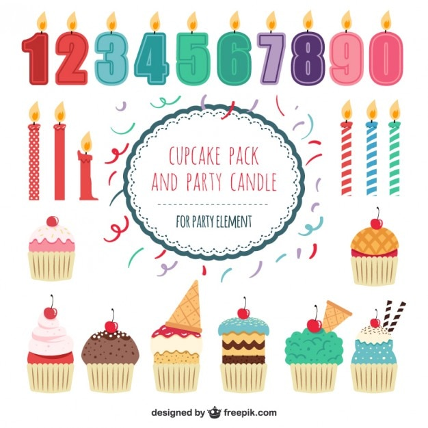 Cupcakes pack and party candles Free Vector