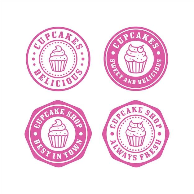 Cupcakes stamps design premium collection Premium Vector