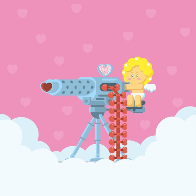 Cupid aiming a heavy machine gun Premium Vector