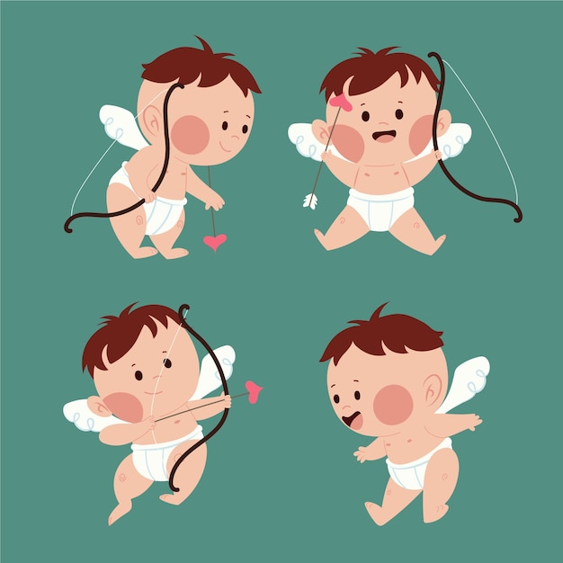 Cupid angel with brown hair and bow with arrows Free Vector