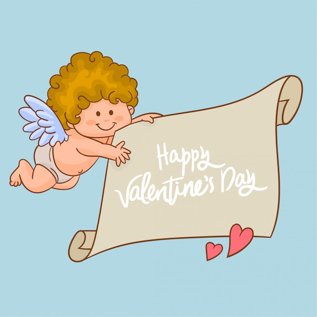 Cupid carrying a banner Premium Vector