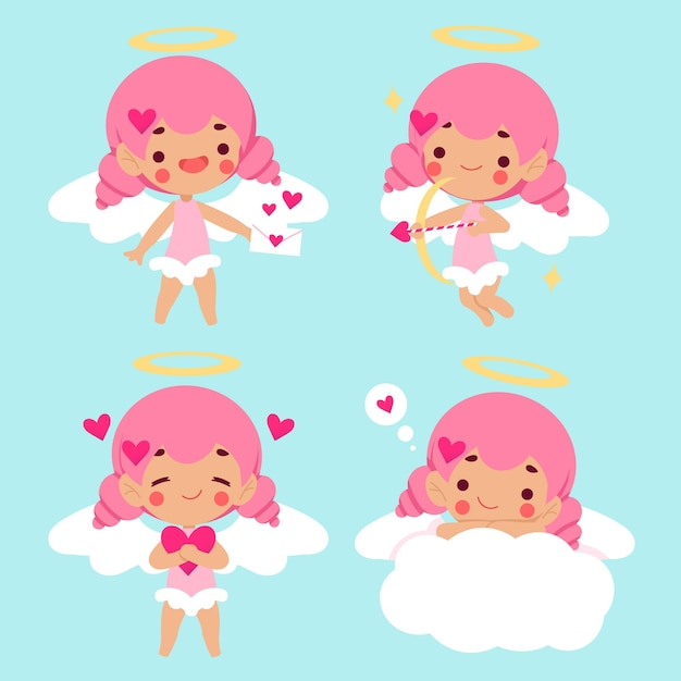 Cupid character collection in flat design Free Vector