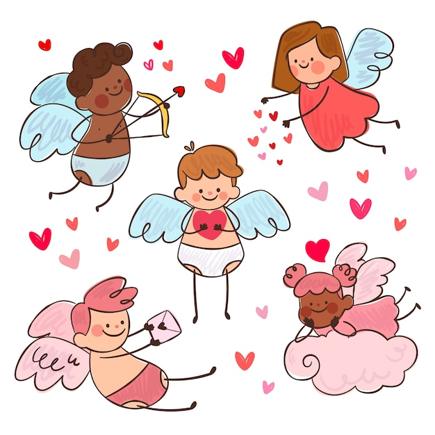 Cupid character collection Free Vector