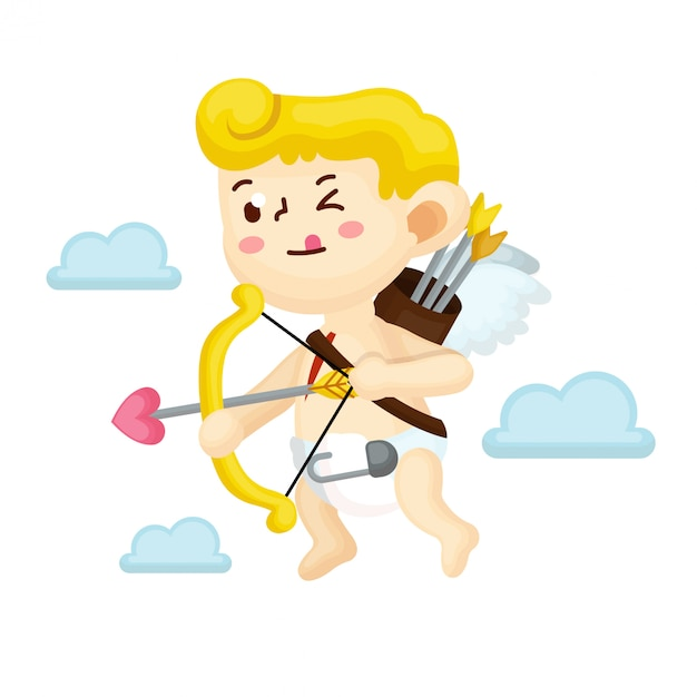Cupid character illustration with flat style Premium Vector