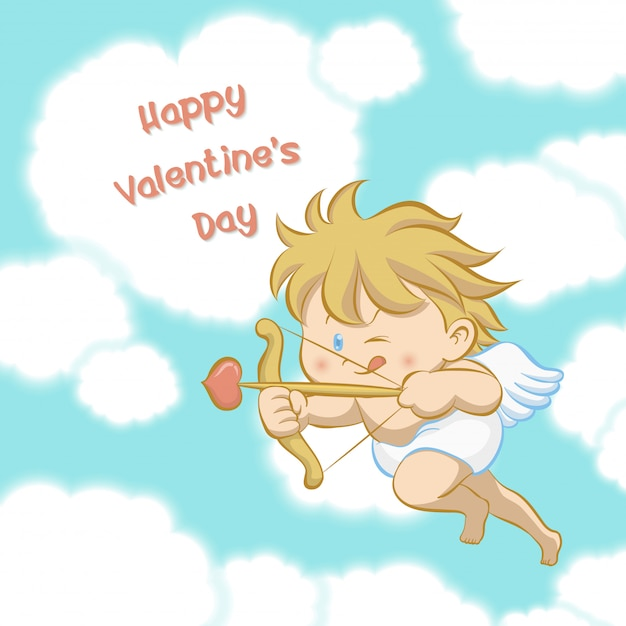 Cupid flying among heart shaped cloud Premium Vector