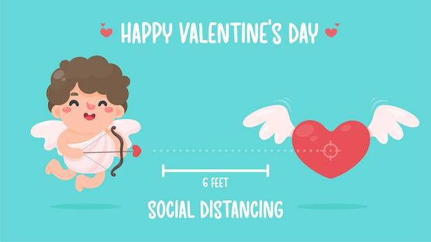 キューピッドは弓を持って、心臓に矢を向けました。バレンタインデーのための社会的距離 Premiumベクター