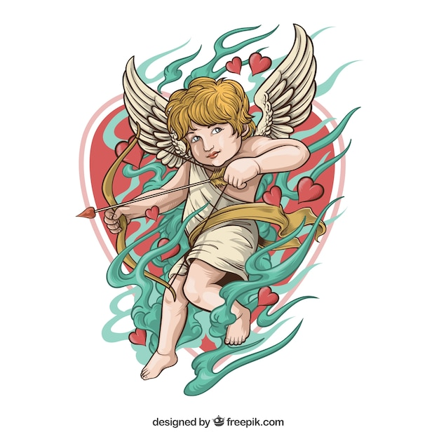 Cupid illustration with bow and date Free Vector