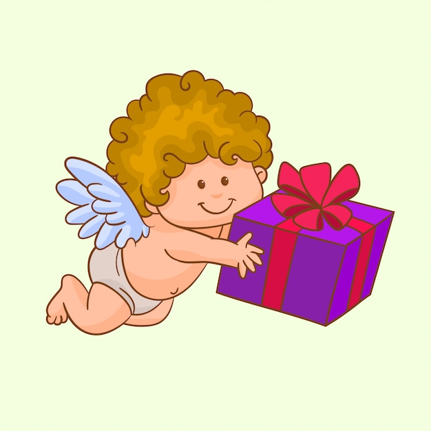 Cupid with gift box Premium Vector