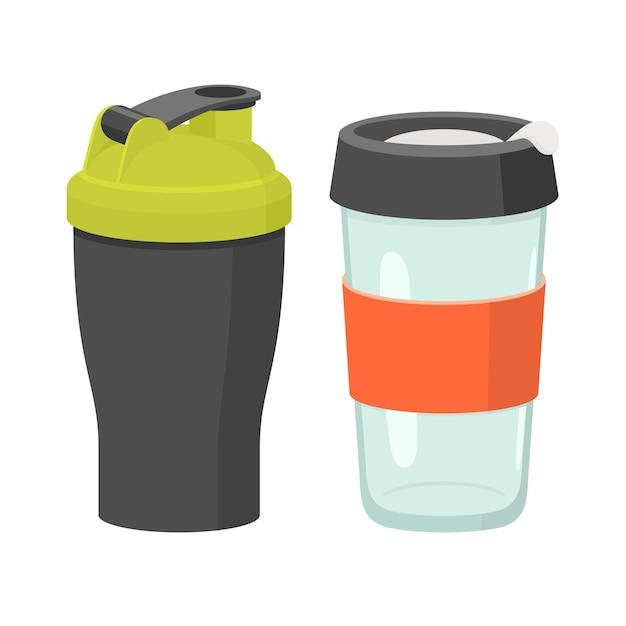 Набор чашек и стаканов. плоский рисунок Premium векторы