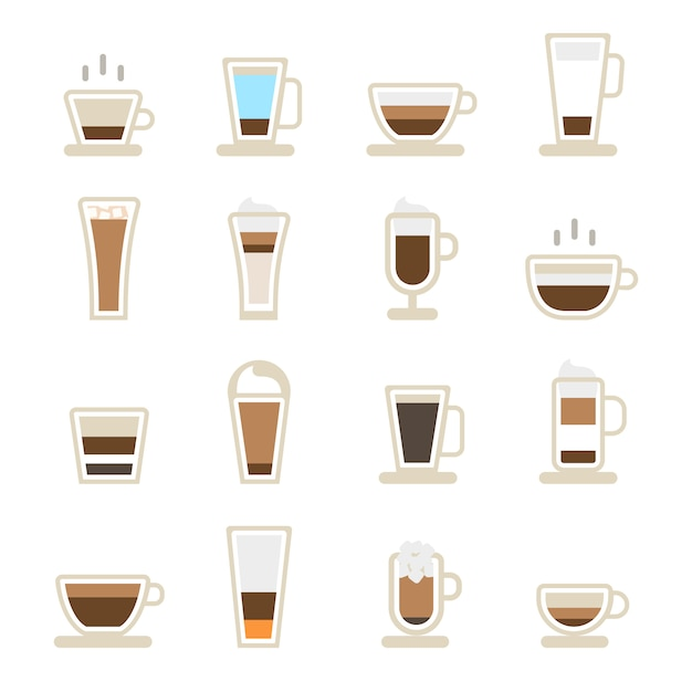 Cups of coffee icons Free Vector