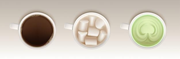 コーヒー、抹茶、ココア、マシュマロ 無料ベクター