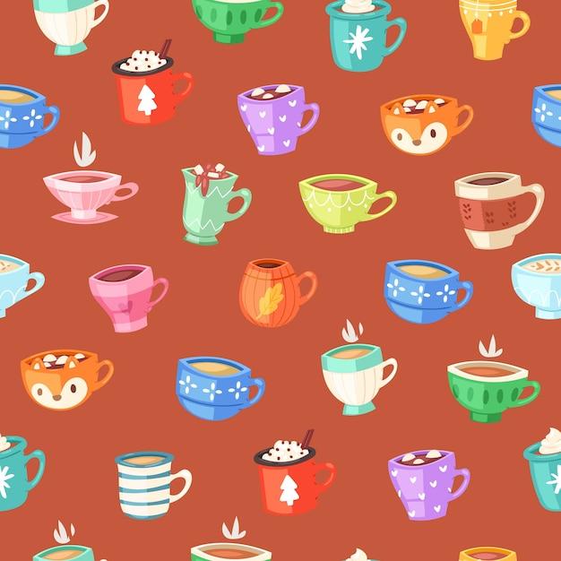 カップのシームレスなパターン、コーヒーの壁紙のコンセプトを飲む、レトロなイラスト、ヴィンテージ、イラスト。かわいい食器の要素、装飾的な飾り、台所用品のコレクション。 Premiumベクター