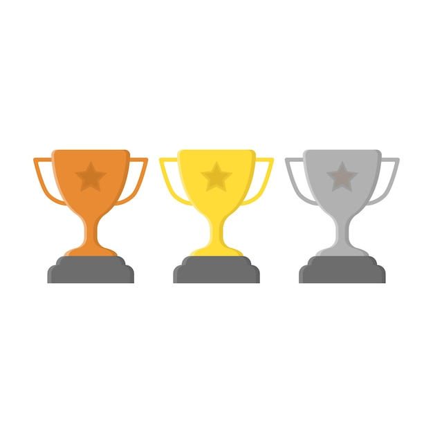 Cups set. gold, silver and bronze Premium Vector