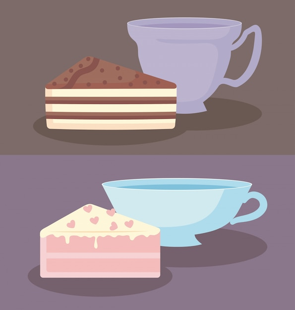Cups with slices of sweet cake Premium Vector