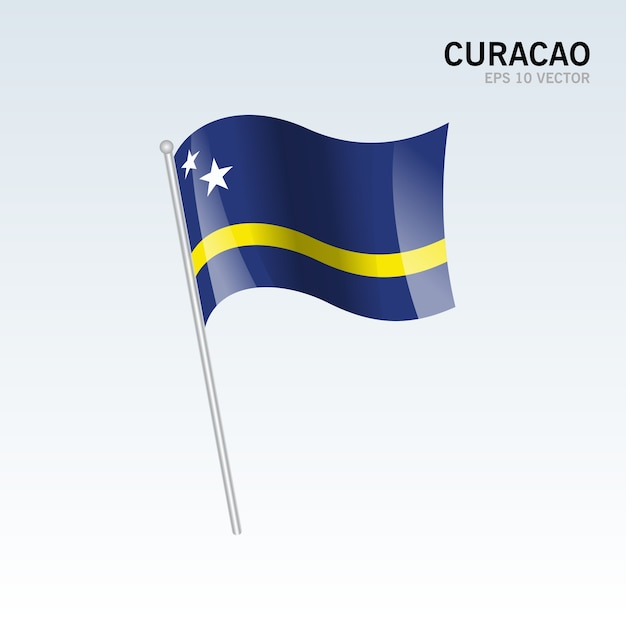 curacao waving flag isolated on gray background vector