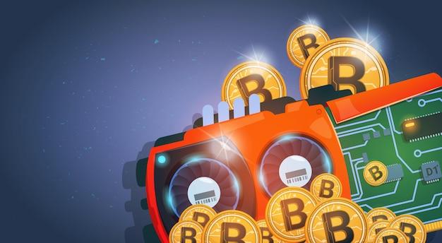 Золотые монеты и биткойны curcuit цифровая валюта современные веб-деньги на синем фоне Premium векторы