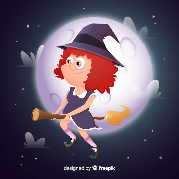 Cure halloween witch with full moon Free Vector