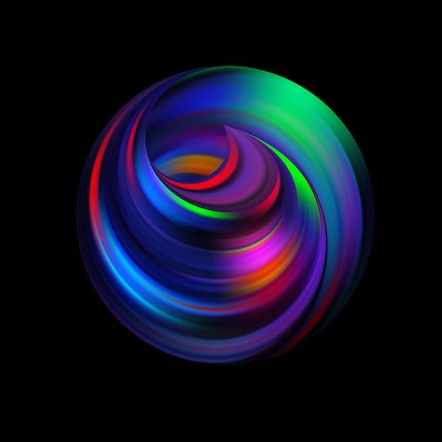 サークルの内側をカールします。視点に入るループ渦巻き。抽象的な球形のロゴ。影のあるただのシンボル。円とらせんが編み込まれ、枝編み細工になります。無限の宇宙の問題。 Premiumベクター