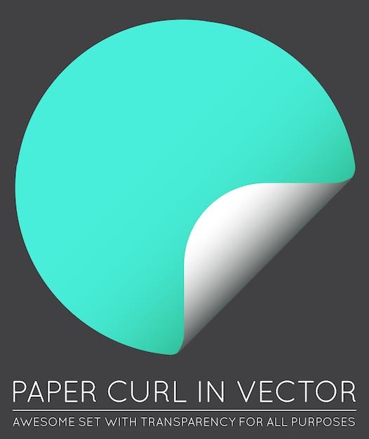 Вектор стикер с бумаги curl с тенью изолированы. Premium векторы