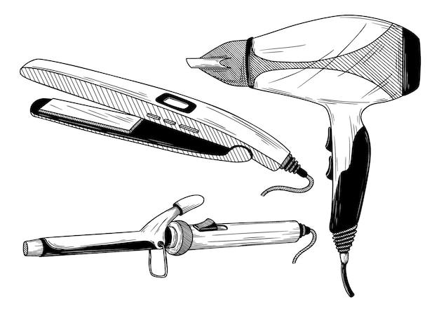 Щипцы для завивки, выпрямитель и фен изолированы. иллюстрация Premium векторы