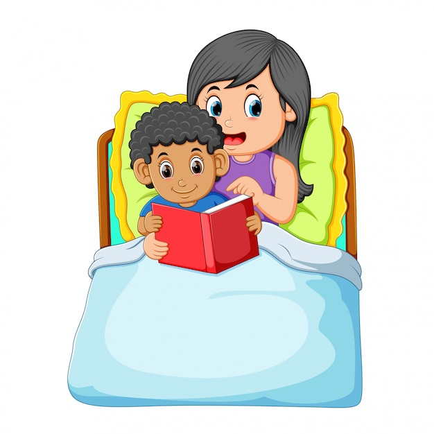 The curly boy is going to sleep and reading the book with his mother Premium Vector