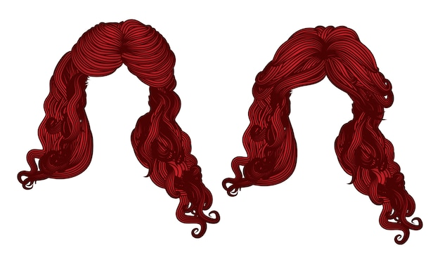 Curly hair of red color Premium Vector