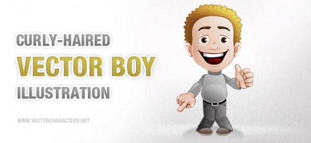 Curly haired boy vector character Vector | Free Download