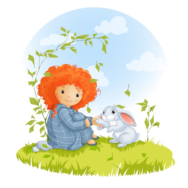 Curly red-haired girl and hare sitting on a meadow. Premium Vector