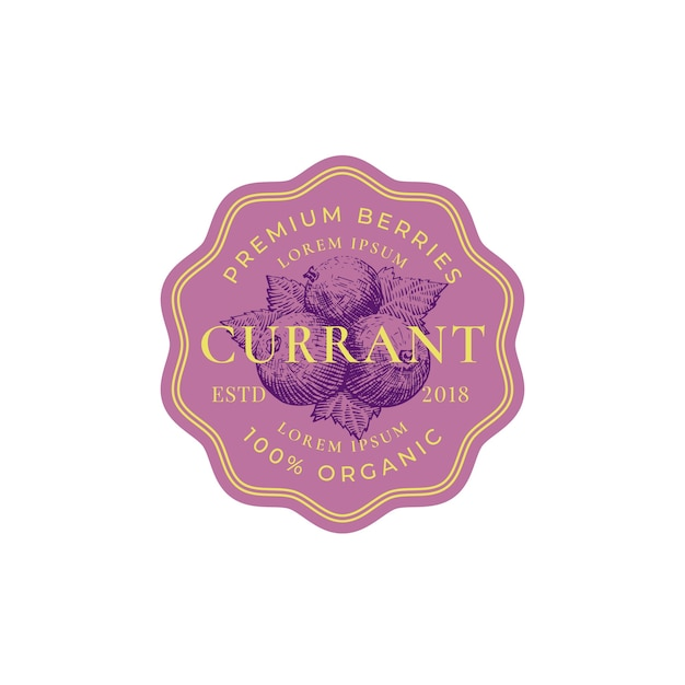 Currant abstract  sign, badge or logo template. Free Vector