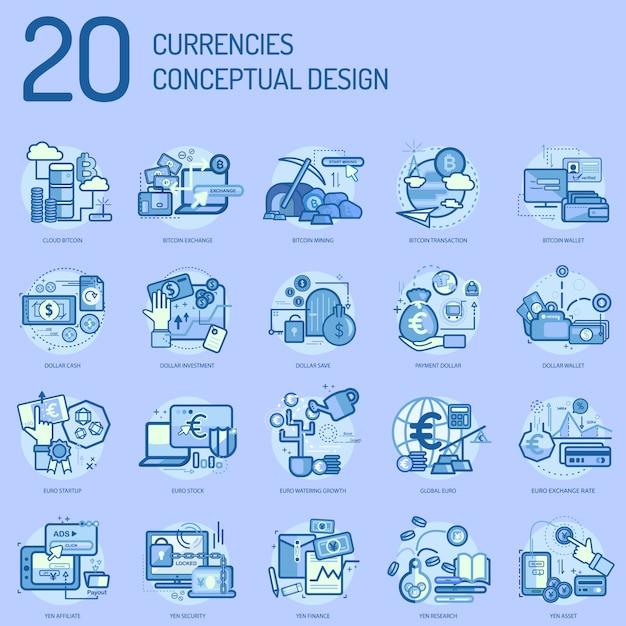 Currencies conceptual design Premium Vector