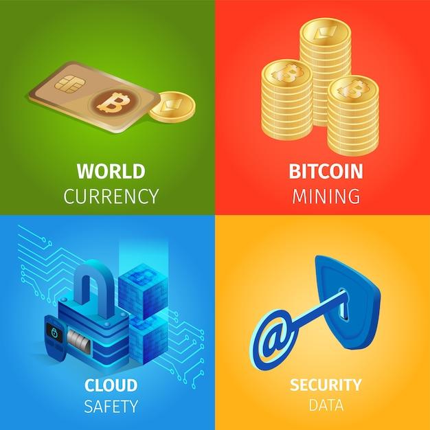 Valuta, bitcoin mining, cloud e dati di sicurezza Vettore gratuito