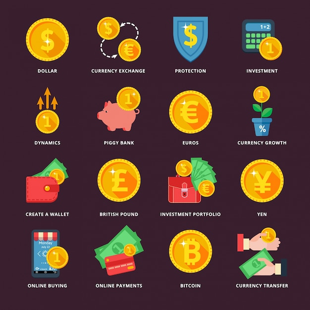 Currency exchange in the banking system Premium Vector