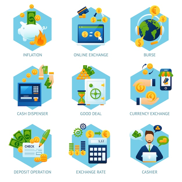 Currency exchange concept set Free Vector