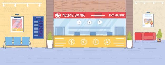 Currency exchange department interior Premium Vector