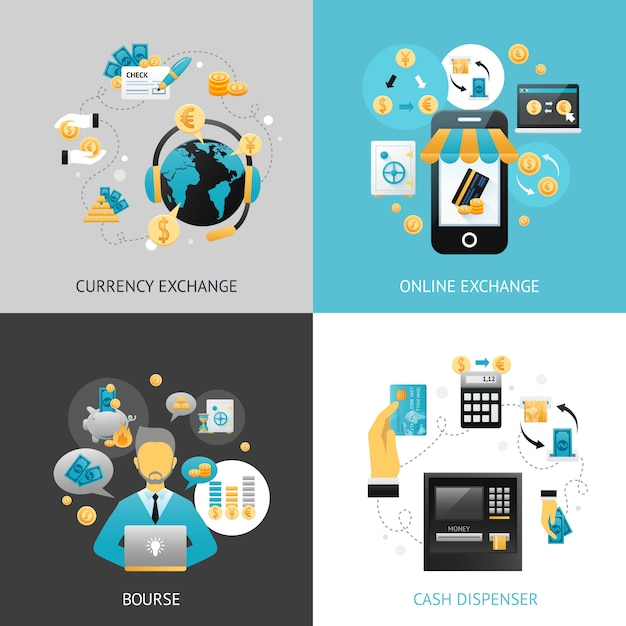 Currency exchange design concept Free Vector